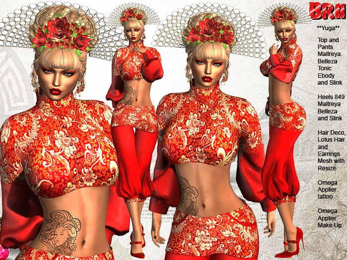 ** YUGA RED  VERSION ASIAN STYLE COMPLET OUTFIT **