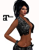 XK Maitreya Leather Fringe Vest Black