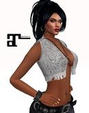 XK Maitreya Leather Fringe Vest White