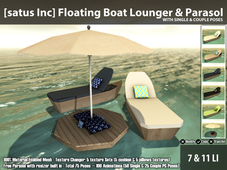 [satus Inc] Floating Boat Lounger & Parasol - 100 Animations ~ 75 Poses
