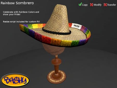 :::BASHY::: Sombrero - Rainbow Pride (WEAR TO UNPACK)
