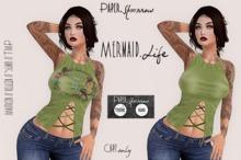 Paper.Sparrow Vintage Mermaid Life Tee - Green