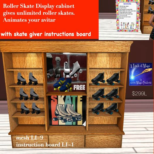 Roller skate display cabinet gives Men's & Woman's skates-crate