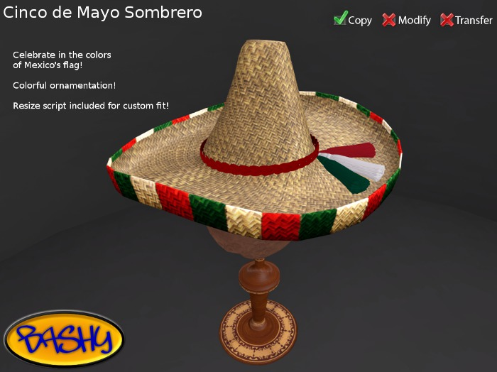 :::BASHY::: Sombrero Cinco De Mayo (WEAR TO UNPACK)