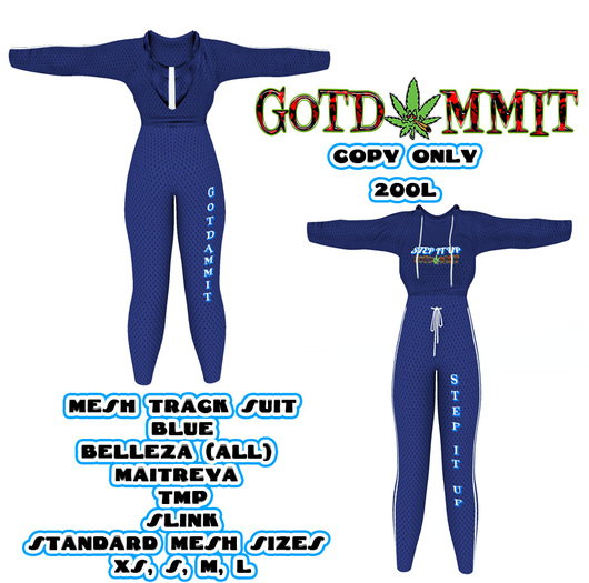 Second Life Marketplace 50 Off Black Friday Sale G O T D A M M I T Girlz Track Suit Blue