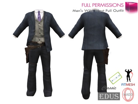 Full Perm Men's Wild West Full Western Outfit For Adin, Ocacin Mado, Onupup, Edus And Classic Avatars