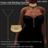 Choker with Matching Chain Set Gold   -RYCA-