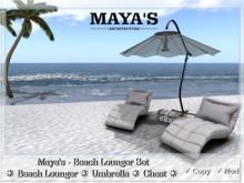 Maya's - Beach Set ~ Lounger Chair, Umbrella, Chest, Palm