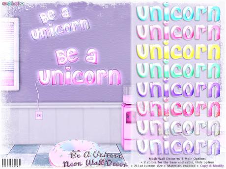 [ bubble ] Be A Unicorn Neon Wall Decor
