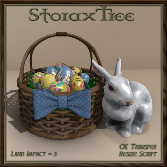 Easter Basket w Ceramic Rabbit A8