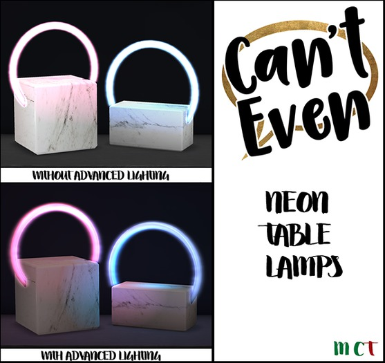 Can't Even - Neon Table Lamp (Square Pink)