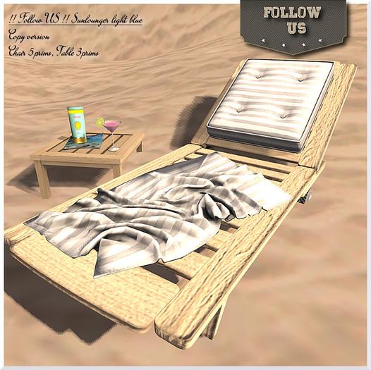 Special offer !! Follow US !! Sun lounger Hello Summer blue COPY version