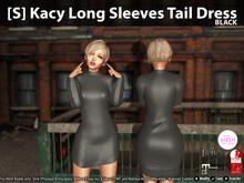 [S] Kacy Long Sleeves Tail Dress Black