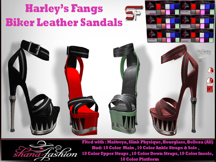 Harley's Fangs - Mesh Biker Platform Leather Sandals V1