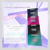 koukla . inventory organization bins . clothes . bright