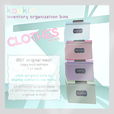 koukla . inventory organization bins . clothes .pastel