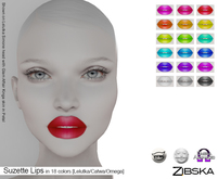 Zibska ~ Suzette Lips in 18 colors with Lelutka, Catwa and Omega appliers