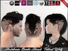 Unisex HairBase Tattoo Bento Head  - Tribal Wolf