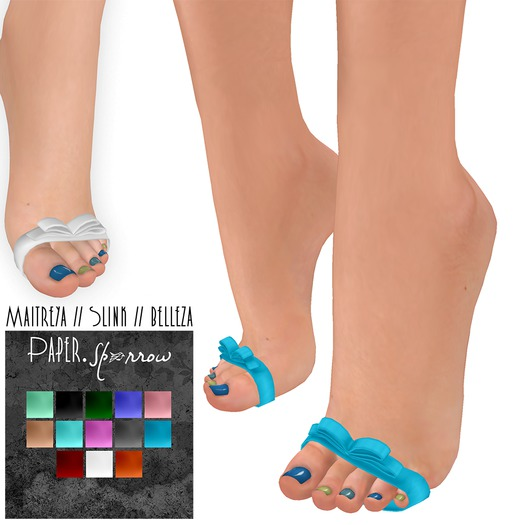 Paper.Sparrow Bow Toes Color Pack * Maitreya // Slink // Belleza