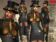 **MARCELA BLACK VERSION STEAMPUNK  STYLE COMPLET OUTFIT **