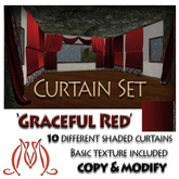 Curtain Set Graceful Red