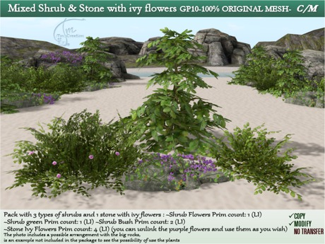Second Life Marketplace Mixed Shrubs Plant Stone Ivy Flowers 4