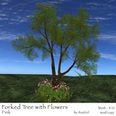 AvaGirl - Forked Tree with Flowers (Pink)