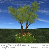 AvaGirl - Young Trees with Flowers (Orange & Yellow)