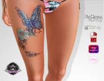 TSB ::: Tattoo blue butterfly with petals