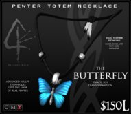 -Pewter Totem Necklace - BUTTERFLY - by Khyle Sion at ~RW~
