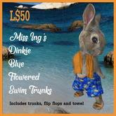 Miss Ing's Dinkie Blue Flowered Swim Trunks Set