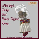 Miss Ing's Dinkie Red Flower Topped Dress Set