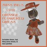 Miss Ing's Dinkie Orange Flowered Circular Dess Boxed