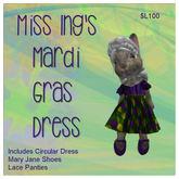 Miss Ing's Dinkie Mardi Gras Dress Set Boxed
