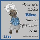 Miss Ing's Dinkie Blue Flowered Off Shoulder Shirt Set