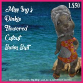 Miss Ing's Dinkie Flowered Cutout Swim Suit Set
