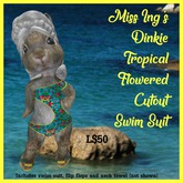 Miss Ing's Dinkie Tropical Flowered Cutout Swim Suit Set