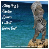 Miss Ing's Dinkie Zebra Cutout Swim Suit Set