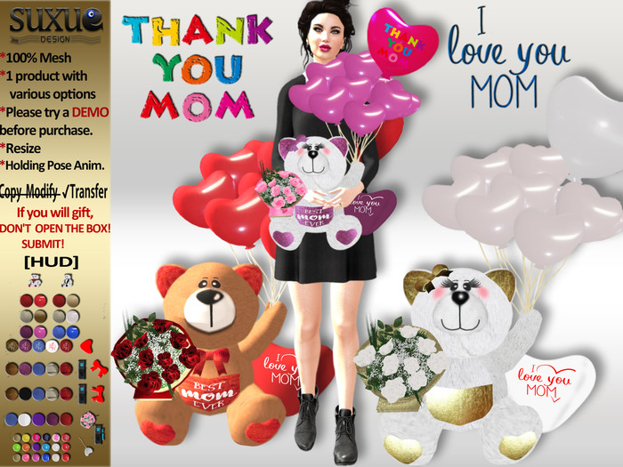 [SuXue Mesh] FATPACK Thank You Mom Teddy Bear With HUD Balloons Bouquet of Roses Holding Pose Animate Resizable