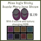 Miss Ing's Dinkie Texturable Suede Mary Jane Shoes Boxed