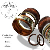 Dark Mouse Wood & Glass Bangles & Earrings (Brown)