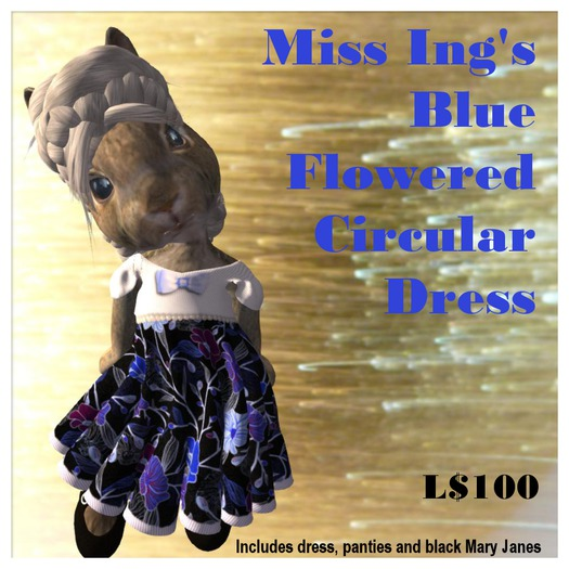 Miss Ing's Dinkie Blue Flowered Circular Dress Set