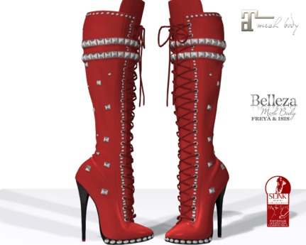 ~PP~ Hagar Red Leather  Boots