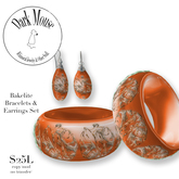 Dark Mouse Nouveau Lady Bakelite Bangles & Earrings (Orange)