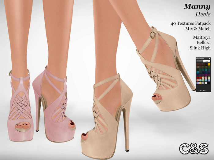 C&S Manny Sandals - Maitreya Lara, Slink High, Belleza. 40 Textures. Mix & Match