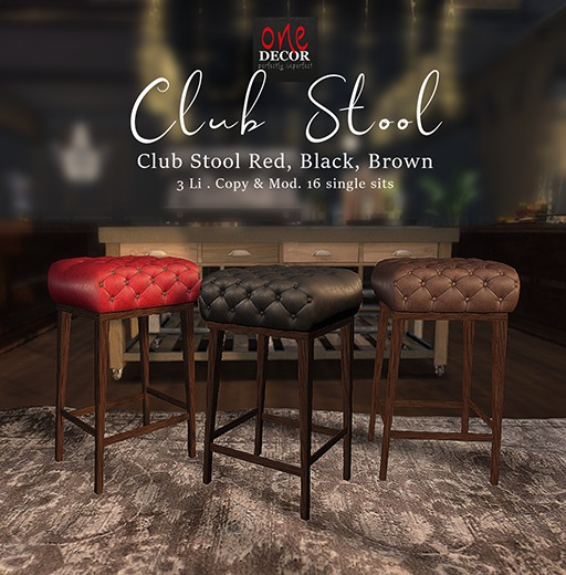 OneDecor_Club Stool Red