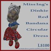 Miss Ing's Dinkie Red Bandana Circular Dress Boxed