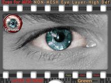 FULL - ZED Green Eyes for MEN - Ultra Realistic w\ Lash & Light Reflection in Eye