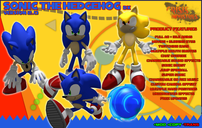 Second Life Marketplace C I Sonic The Hedgehog Avatar Dx