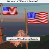 Animated USA flag on flagpole